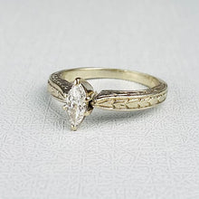 Load image into Gallery viewer, Diamond marquise solitaire ring in 14k white gold