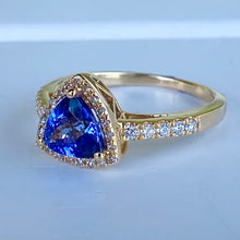 Load image into Gallery viewer, Tanzanite and diamond ring in 14k yellow gold
