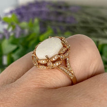 Load image into Gallery viewer, Large Opal and diamond ring in 14k rose gold by Effy