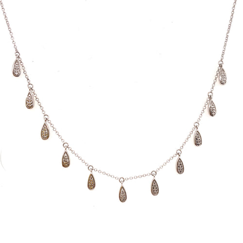 Diamond raindrop necklace in white gold