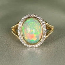 Load image into Gallery viewer, Opal and diamond ring in 14k yellow gold