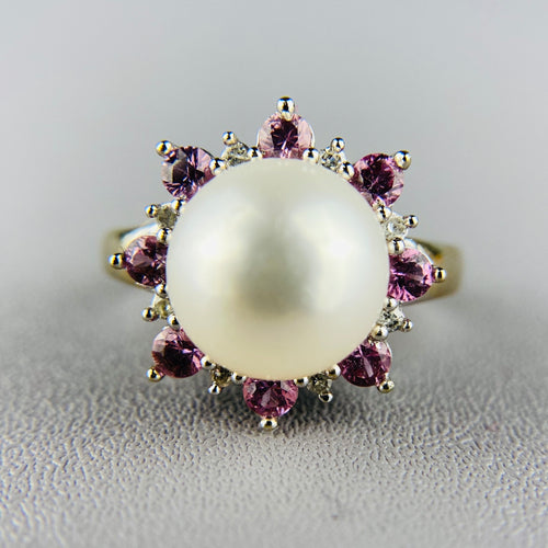 Pearl, diamond and pink topaz ring in white gold