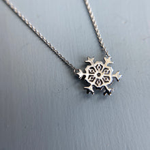 Load image into Gallery viewer, FINAL SALE!  14k white gold diamond snowflake necklace