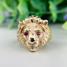 Load image into Gallery viewer, Lion's head ring in yellow gold with rubies and diamonds