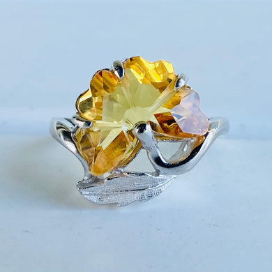 Flower cut synthetic yellow sapphire ring in white gold