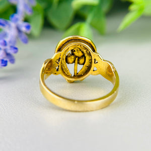 Vintage seed pearl horseshoe ring in yellow gold