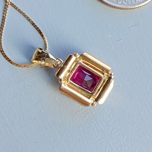 CLEARANCE!  Synthetic ruby pendant in yellow gold