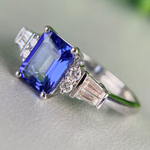 Load image into Gallery viewer, Tanzanite and diamond ring in 14k white gold
