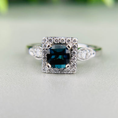 Indicolite tourmaline and diamond ring in 14k white gold