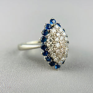 Sapphire and diamond navette in white gold