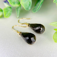 Load image into Gallery viewer, Smokey Quartz Briolette drop earrings in 14k yellow gold