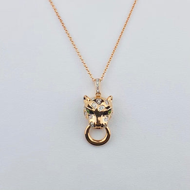 Panther cat diamond and tsavorite necklace in 14k rose gold by Effy