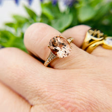 Load image into Gallery viewer, Morganite and diamond ring in 14k rose gold by Effy