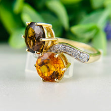 Load image into Gallery viewer, Smokey Quartz and citrine moi et toi ring in yellow gold