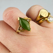 Load image into Gallery viewer, Vintage nephrite jade navette ring in yellow gold