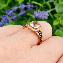 Load image into Gallery viewer, Aquamarine and diamond ring in 14k rose gold by Effy
