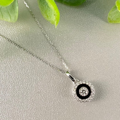 Diamond and black enamel necklace in white gold