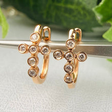 Load image into Gallery viewer, 14k rose gold diamond cross huggies