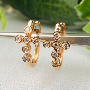 14k rose gold diamond cross huggies