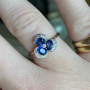 14k white gold sapphire and diamond pansy ring