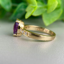 Load image into Gallery viewer, Amethyst and diamond ring in 14k yellow gold