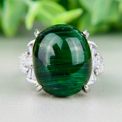 Estate 18.52ct green tourmaline and diamond ring in platinum