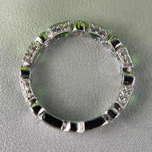 Load image into Gallery viewer, Tsavorite and diamond band in 18k white gold C3
