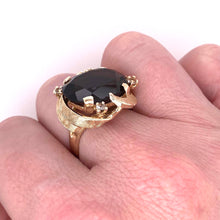 Load image into Gallery viewer, Large Smokey quartz ring in 10k yellow gold