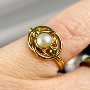 Pearl ring by Georg Jensen in yellow gold