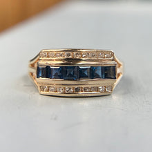 Load image into Gallery viewer, Sapphire and diamond ring in 14k