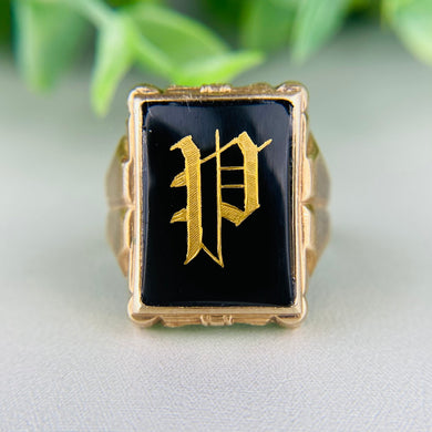 Ostby Barton vintage onyx P ring in yellow gold
