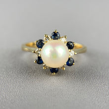 Load image into Gallery viewer, Pearl, sapphire, and diamond ring in yellow gold