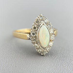 Opal and diamond navette