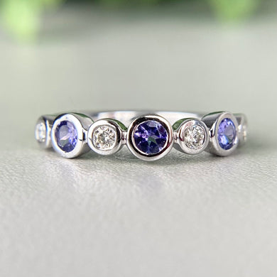 RESERVED: Tanzanite and Diamond 14k White Gold Band