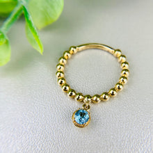 Load image into Gallery viewer, Beaded ring with blue topaz dangle by Effy in 14k yellow gold