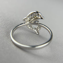 Load image into Gallery viewer, Diamond dolphin ring in 14k white gold