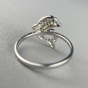 Diamond dolphin ring in 14k white gold