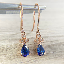 Load image into Gallery viewer, Sapphire and diamond earrings in rose gold