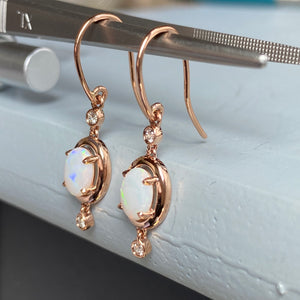 CLEARANCE!  Opal and diamond fairytale earrings in 14k rose gold