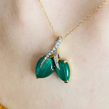 Load image into Gallery viewer, Malachite and diamond necklace in 14k