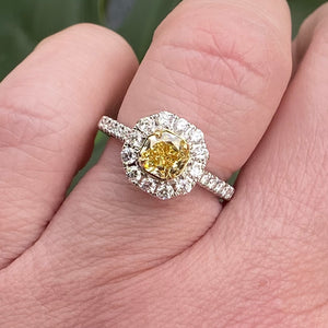 GIA natural yellow diamond ring in 18k white gold