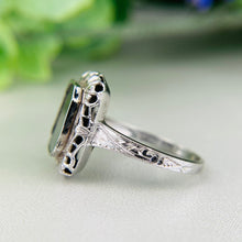Load image into Gallery viewer, Vintage Bloodstone filigree ring in 14k white gold