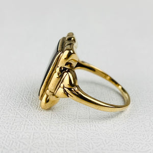 CLEARANCE!  Vintage yellow gold onyx ring