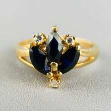 Load image into Gallery viewer, Vintage sapphire and diamond cluster ring