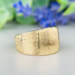 14k yellow gold wide textured band