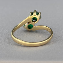 Load image into Gallery viewer, Green spinel triplet bypass ring in yellow gold