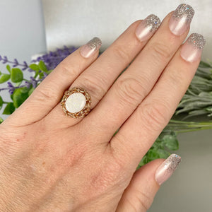 Large Opal and diamond ring in 14k rose gold by Effy