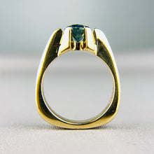 Load image into Gallery viewer, Green-blue sapphire solitaire in yellow gold