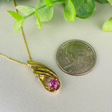 Load image into Gallery viewer, Pink sapphire necklace in 14k yellow gold