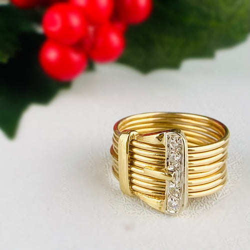 Vintage 14k yellow gold diamond buckle ring
